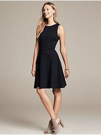 Navy Ponte Fit-and-Flare Dress
