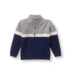 Our cozy layer features a colorblock and stripe design. Mock turtleneck style is finished with a half-button placket.Boy Navy Colorblock Sweater by Janie and JackClassic and refined, Janie and Jack's designer baby boys sweaters and warm cardigans wil Baby Boy Sweater, Toddler Sweater, Knit Baby Sweaters, Boys Sweaters, Striped Sweaters, Oversized Sweaters, Baby Cardigan, Winter Sweaters, Vintage Sweaters