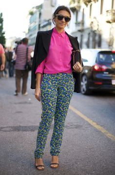 neon pink + patterned pants