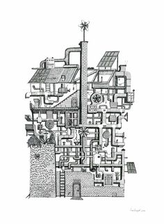 Ana Arago - casa mecânica Coloring Book Art, Coloring Pages, Drawing Quotes, Graphic Illustration, Paper Art, Architecture, Drawings, Sketch, Home