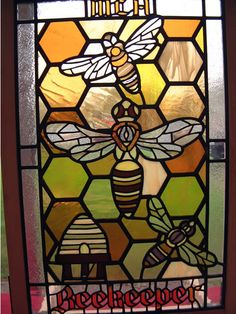 A stained glass window. Faux Stained Glass, Stained Glass Panels, Stained Glass Projects, Stained Glass Patterns, Leaded Glass, Mosaic Glass, Stained Glass Tattoo, Glass Butterfly, Bee Art
