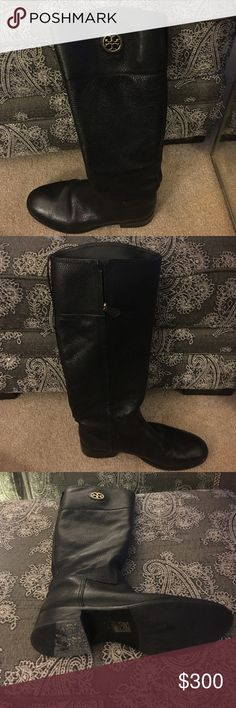Black leather Tory Burch junction riding boot These Tory boots are beautiful and luke new I wore them twice. They are a 9 but they run a little big that is why I am selling! Tory Burch Shoes Winter & Rain Boots