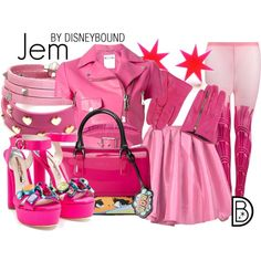 Jem and the Holograms by leslieakay on Polyvore featuring Moschino, Sister Original, Sophia Webster, Furla, Sif Jakobs Jewellery, Juicy Couture, Dsquared2, Halloween and jemandtheholograms