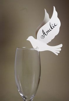 50+Place+Cards+Doves+Decor+for+Wine+Glass+Original+by+MamaTita,+$100.00:
