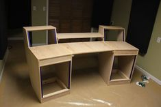 Although this desk was designed for a small music studio it could be reworked just slightly to make a regular computer desk.