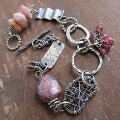 Silver Charm Bracelet PINK wire wrapped gemstone funky by artdi, $235.00