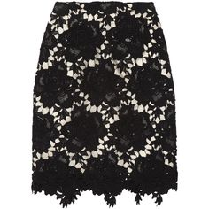 Lover Star crocheted floral cotton-lace pencil skirt (109.710 CRC) ❤ liked on Polyvore featuring skirts, black, cotton skirts, lace pencil skirt, cotton knee length skirt, stretchy pencil skirt and floral pencil skirt