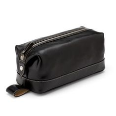 Men's Leather Wash Bag in Smooth Black (Aspinal of London)