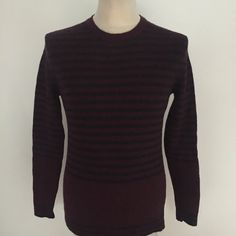 f418af838 All Saints Armada Crew Jumper Lambswool   Dry Clean Only Colour - Burgundy    Navy Striped Condition - Very Good