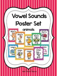 Vowel Sounds Poster Set (Long and Short Vowels)~ Animals from Creative Lesson Cafe on TeachersNotebook.com (12 pages)