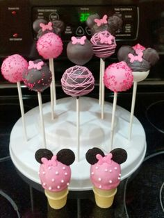 Minnie Mouse Cake Pops 2nd Birthday, Birthday Parties, Birthday Ideas, Minnie Mouse Cake Pops, Mickey Mouse, Mini Mouse, Chocolate Covered, Party Favors, Ice Cream
