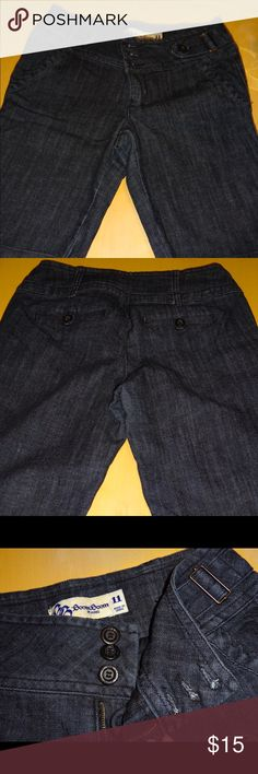 Denim Bermuda Shorts Cuffed Bermuda shorts with a little wear in the seat area. Wide belt area has adjustable areas on each side. No belt required Boom Boom Jeans Shorts Bermudas