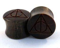 "Deathly Hallows Lignum Vitae Wooden Plugs PAIR 2g 6.5mm 0g 8mm 00g 9mm 10mm 7/16"" 11mm 1/2"" 13mm 9/16"" 14mm 5/8"" 16mm and up Wood Ear Gauges"