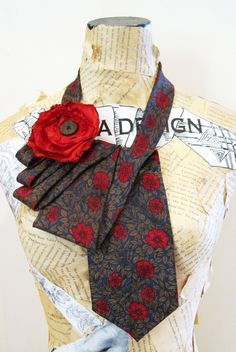 Red rose vintage ties necklace www.tiesandwhimsy.com