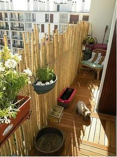 Easy makeover using bamboo fencing for privacy, spray paint on ...