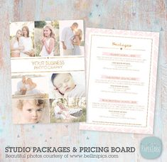 Photography Pricing Packages - Marketing Board - Photoshop template - IP013 - INSTANT DOWNLOAD