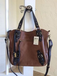 Lucky Brand Buckman Leather Large Tote Convertible Crossbody Cognac LB1042 #LuckyBrand #TotesShoppers