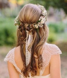 Wedding day garland fashion hair dress outdoors flowers pretty country bride curls
