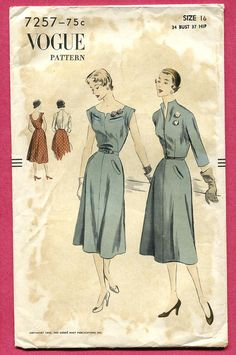 vogue dress jacket 7257, 1950