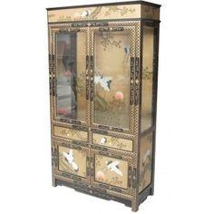 Vitrine laquée moredoré incrustée nacre - meuble chinois laqué mobilier dasie