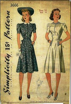1940s Ladies Day Dress Sewing Pattern - Simplicity #3666