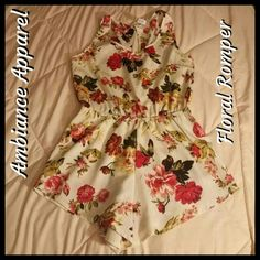 ⬇️PRICE DROP⬇️FLOWER ROMPER Cute little flower romper. Only wore it a few times, great for the beach to cover up your bathing suit or just to wear around. 100% Polyester Ambiance Apparel Pants Jumpsuits & Rompers