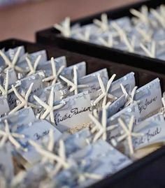Starfish place cards for a beach wedding
