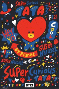 It's super cute TATA from BT Planet! - Brand New Poster - Measures 22 x 34 inches - Ships rolled and wrapped in original plastic Posters are shipped next day in a mailing tube via USPS First Class Mail for FREE. Cartoon Wallpaper, Bts Wallpaper, Iphone Wallpaper, Friends Poster, Bts Pictures, Photos, Bts Backgrounds, Bts Drawings, Bts Chibi