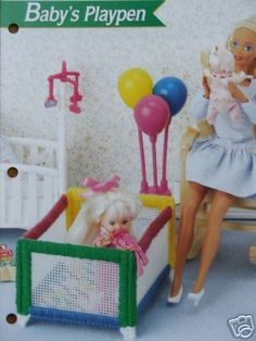 Plastic Canvas Barbie Fashion Doll Pattern BABY'S PLAYPEN Furniture. $2.45, via Etsy.