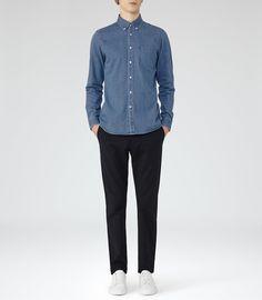 Denim blue shirt + Black or Navy pant (kaki or trouser) + White sneaker