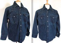Rare Vintage Denim Shirt // Men's Denim Snap Button Up Western Shirt // Jean Shirt // Workwear by TrueValueVintage on Etsy Men's Denim, Denim Shirt, Denim Button Up, Button Up Shirts, Western Outfits, Western Shirts, Kind Of Blue, Mens Fur, Cowboys Shirt