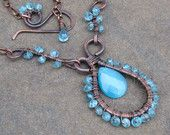Teal Apatite Copper Metalwork Statement Necklace, Wire Wrapped Gemstones, Adjustable Length