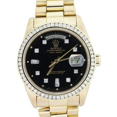 Rolex 18038 Day Date Presidential 18k Yellow Gold Black Diamond Dial &... ($16,005) ❤ liked on Polyvore featuring jewelry, rolex, 18k jewelry, black diamond jewellery, yellow gold jewelry and gold jewellery