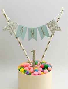 Jungen ersten Geburtstag Kuchen Topper Boy Geburtstagstorte Girlande Blau und Silber ein heute 1. Geburtstag Boy Geburtstag