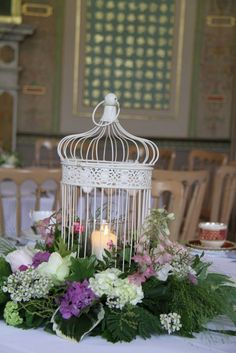 How to decorate a shabby chic birdcage... :  wedding birdcage candles diy flowers shabby chic IMG 5837