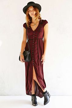 Ecote Plaid Button-Front Maxi Dress