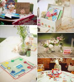 A Wedding Games Table...use decks of cards, travel sized popular games, let guests choose their own to play + more ideas