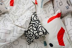 Fun patterns on black, white, and red bedding