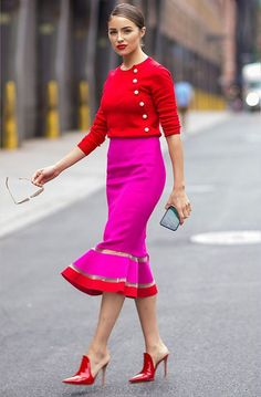 Whole outfit. Those shoes though!, amazing fuchsia pink pencil skirt with ruffle bottom and red trim, fuchsia pink and red outfit on Olivia Culpo Color Blocking Outfits, Colour Blocking Fashion, Olivia Culpo, Work Fashion, Fashion Outfits, Womens Fashion, Fashion Trends, Fashion Ideas, Style Fashion