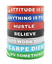 Motivational Gifts Focus Achieve Sainstone 12-Pack Success Bulk Rubber Wristband Band Set for Men Women Teens Athletes Motivational Silicone Bracelets with Inspirational Sayings