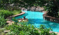 Disney's Aulani Resort on Oahu has a fabulous pool area with lazy river, plus water sprays, water slides and waterfalls. You can also go snorkeling on site and play in the mellow saltwater lagoon.