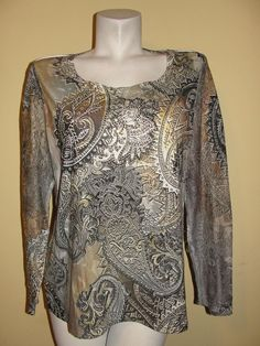 Chico's Women's Top Olive Green Paisley Poly Mesh Long Sleeve Shirt Sz 2 Large #Chicos #KnitTop #Casual