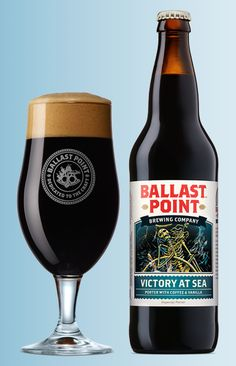 "Ballast Point (San Diego) Victory at Sea ""embodies the art of masterful brewing by infusing a velvety Imperial Porter with pure vanilla flavor and specially-selected, hand roasted coffee. Whisky, Bora Beber, Craft Bier, Ballast Point, Dark Beer, Beers Of The World, Beer Brands, Beer Snob, Beer Packaging"