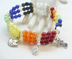 Stretch Bracelet Stacked Charm Chakra Color Blocked by redhatlady, $28.00