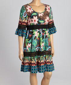 Loving this Reborn Collection Black & Green Floral Scoop Neck Dress - Plus on #zulily! #zulilyfinds