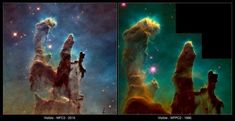 20 years after the iconic Pillars of Creation image was captured in the NASA/ESA Hubble Space Telescope has revisited the site to bring us a Fotos Do Hubble, Hubble Photos, Hubble Pictures, Hubble Space Telescope, Space And Astronomy, Eagle Nebula, Space Facts, Hubble Images, Star Formation