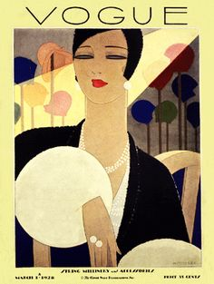 Vogue magazine cover Hats Millinery Issue March 1928 art poster print  SKU2616