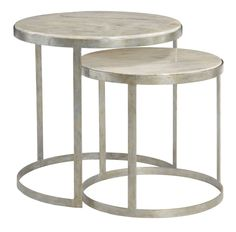 362-031 Tiffin Nesting Tables | Bernhardt Round Dia 24.5 H 24 Century Marble Top #LightFinish $1665 #2Foot