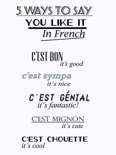 5 ways to say you like it in French.