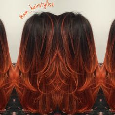 Matrix orange lacquers over a #balayage #ombre @am_hairstylist @aandahaircare #haircolor
